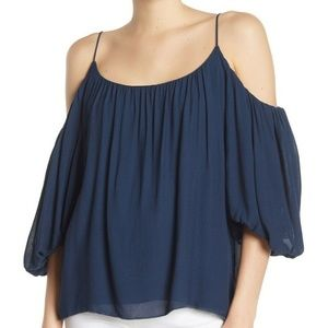Bailey 44 Womens Top Cold Shoulder Blouse Blue M